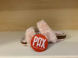 Pax barnsandal med mysigt lurv, ställbara remmar med kardborband, uppbygd innersula. Rosa.