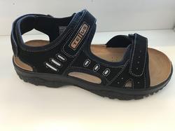 Herr-sandal, svart med mjuk, skön skinn-innersula.