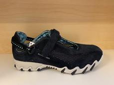 Skön fotriktig sko med löstagbar innersula, mörkblå med ljusblått mönstrat foder.  Allrounder-Mephisto