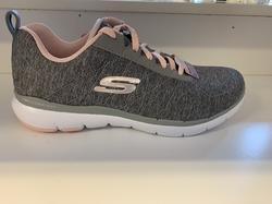 "Skechers sköna skor ""Womens Flex Appeal 3,0""  Memory Foam innersula. Grå med rosa detaljer."